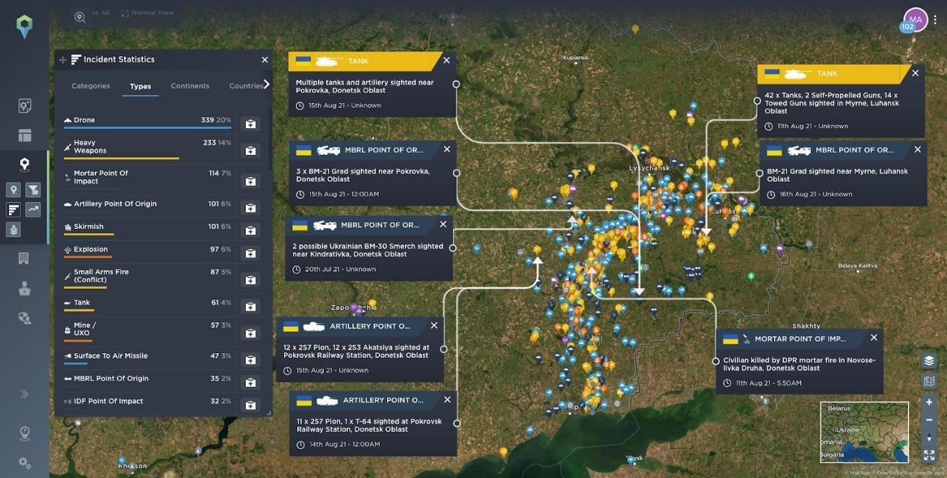 Map highlighting recent conflict reported in Ukraine