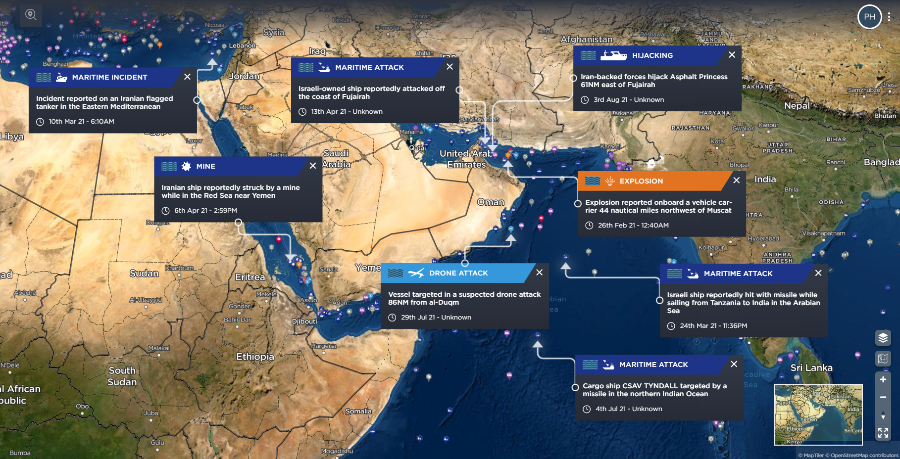 Attacks on shipping in the Gulf 2021