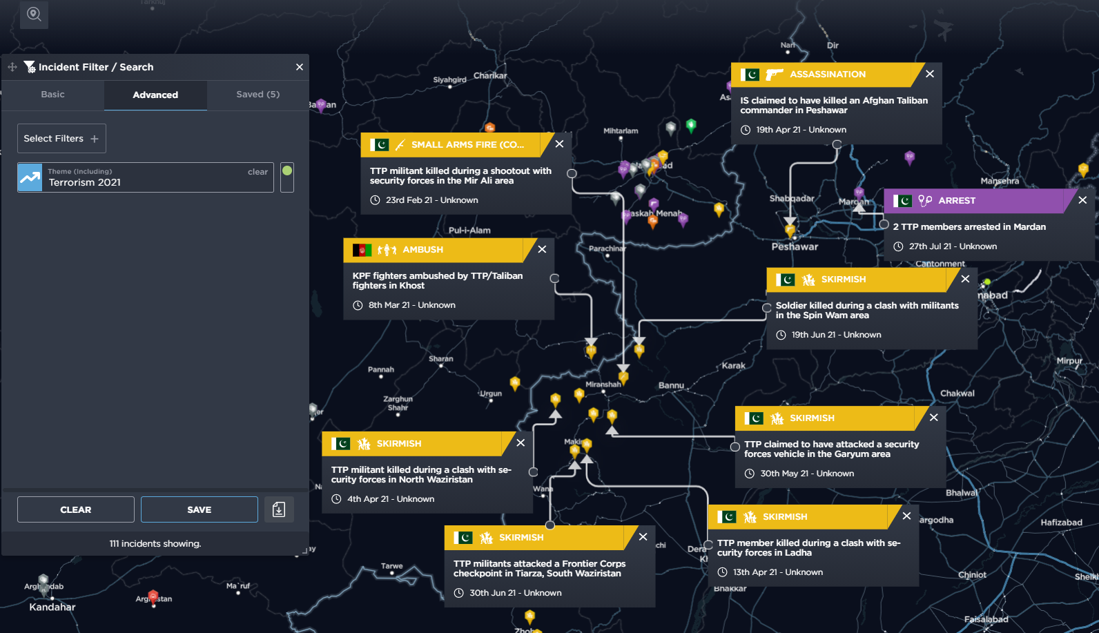 Terrorist related Incidents in Khyber Pakhtunkhwa Province during 2021