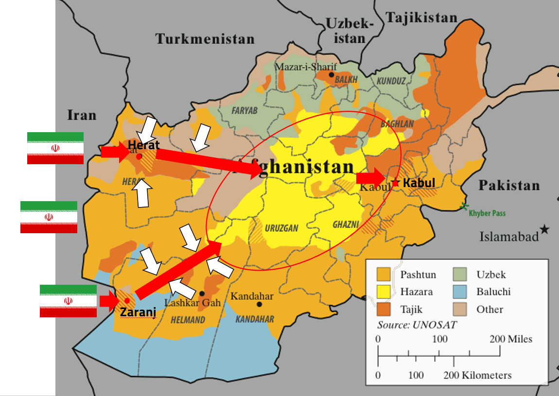 Map showing possible scenario for Iran invasion of Afghanistan