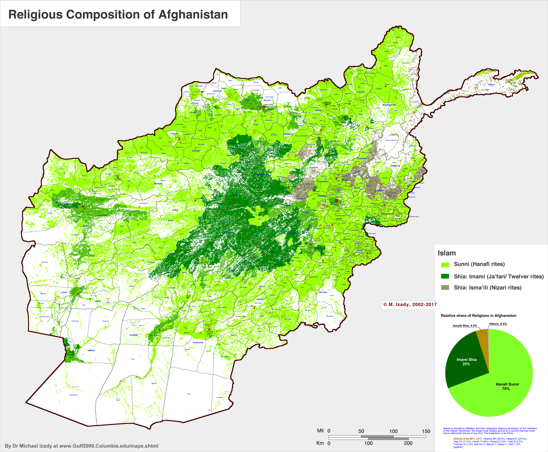 Map showing religious composition of Afghanistan.