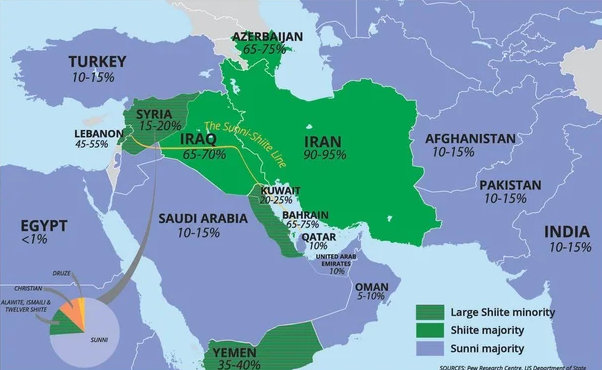 Map showing Shiites as a % of the Muslim population. Source